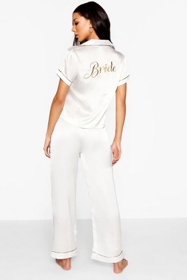 Ivory white Bride Embroidered Pjs