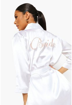 Ivory white Bride Satin Robe