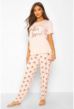 Ensemble legging et t-shirt cœur bride's squad, Or rose métallique
