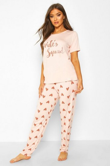 Rose gold metallic Bride's Squad Heart T and Legging Set