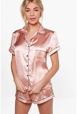 Rose gold Satin PJ Short Set With Contrast Piping
