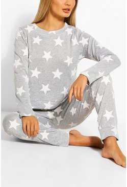 Grey Star Print Sweat And Jogger Set