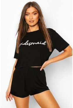 Black Bridesmaid T-Shirt and Short Pj Set