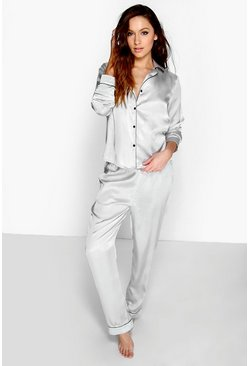 Grey Contrast Piping Button Down Satin Pyjama Set