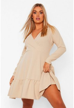 Stone beige Plus Ruffle Wrap Skater Dress