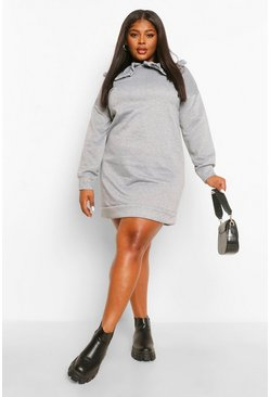 Plus Collar Detail Sweat Dress, Grey marl gris