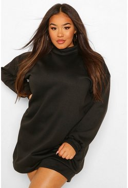 Black Plus High Neck Oversized Sweat Dress
