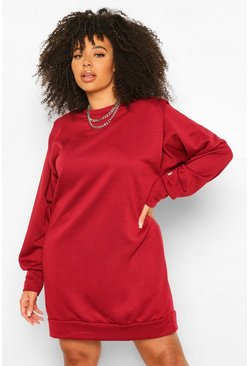 Berry Plus Shoulder Pad Sweat Dress