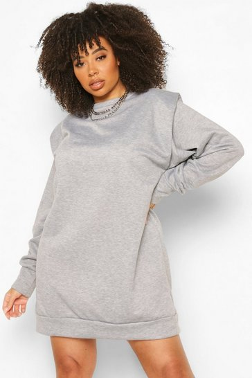Grey marl grey Plus Shoulder Pad Sweat Dress