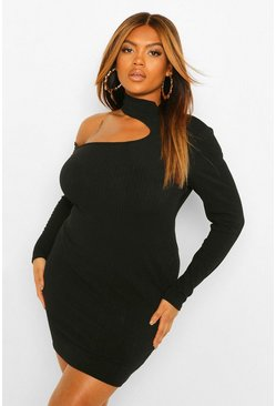 Plus Soft Rib Cut Out Jumper Dress, Black negro