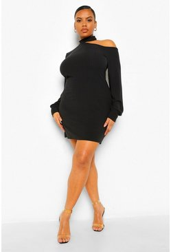 Plus Soft Rib Cut Out Jumper Dress, Black schwarz
