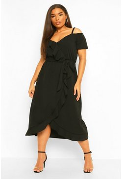 Black Plus Plunge Ruffle Belt Wrap Dress