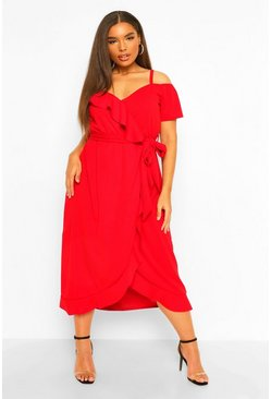 Red Plus Plunge Ruffle Belt Wrap Dress