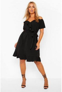 Black Plus Plunge Ruffle Belted Skated Dress