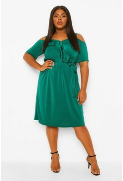 Emerald green Plus Strakke Midi Disco Jurk Met Laag Decolleté En Ruches