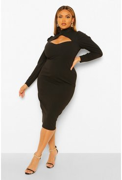 Plus High Neck Cut Out Midi Dress, Black noir