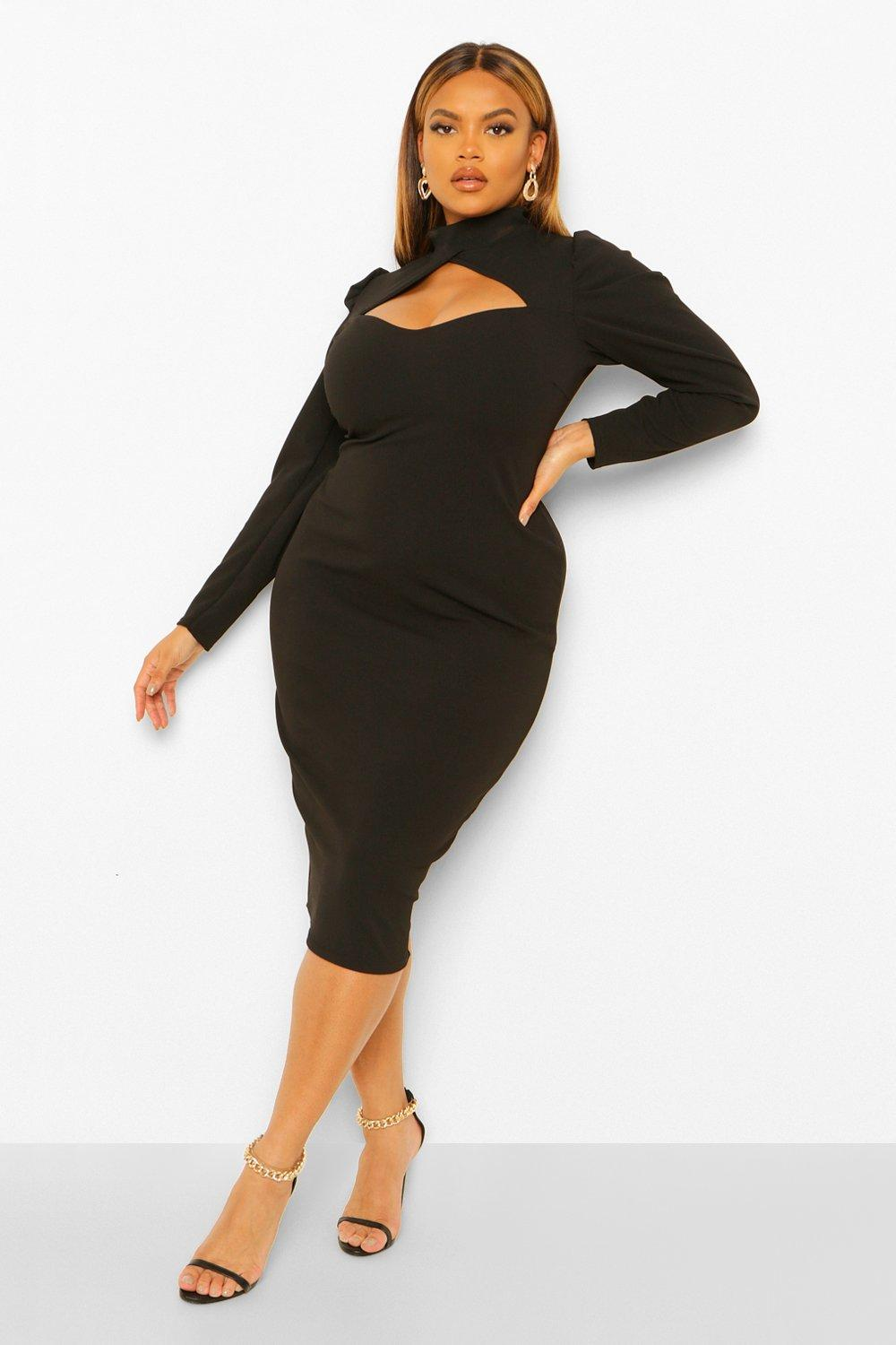 Plus High Neck Cut Out Midi Dress 14