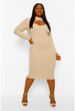 Stone beige Plus High Neck Cut Out Midi Dress