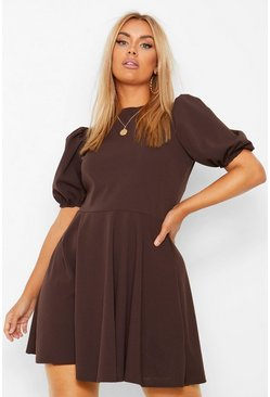 Chocolate brown Plus Puff Sleeve Skater Dress