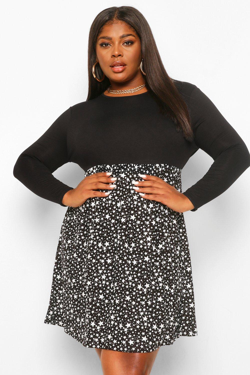 Plus Star Print Contrast Smock Dress 15