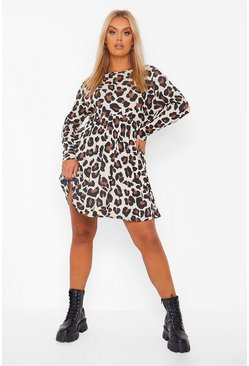 Plus Long Sleeve Leopard Print Smock Dress, Tan marron