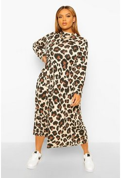Stone Plus Leopard High Neck Smock Midi Dress