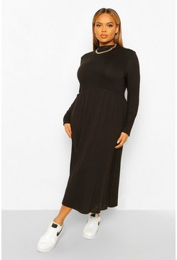 Black Plus High Neck Midi Smock Dress