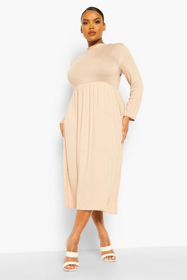 Stone beige Plus High Neck Midi Smock Dress