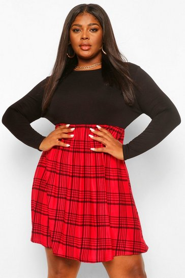 Red Plus Check Contrast Smock Dress