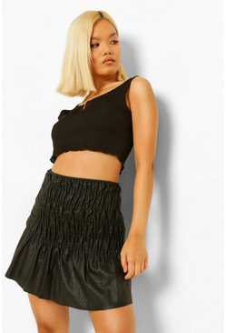 Black Petite Pu Ruched Skirt