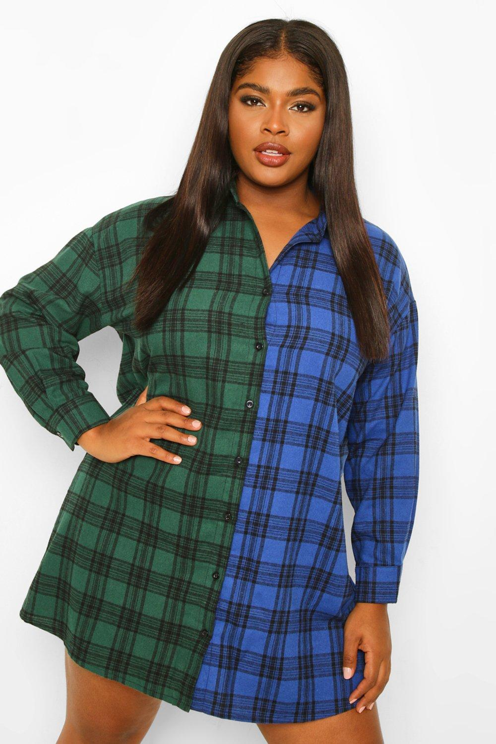 Plus Check Contrast Shirt Dress 8