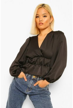 Black Petite Satin Waist Detail Top