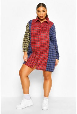 Red Plus Check Contrast Shirt Dress