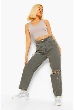 Grey Petite Distressed Baggy Boyfriend Jean