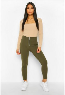 Khaki Petite Zip Up Front Slim Leg Trouser