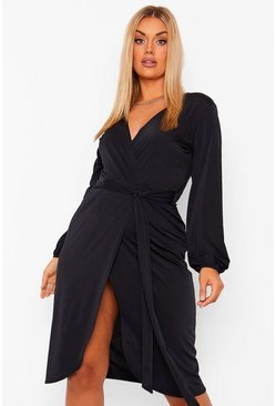 Black Plus Disco Slinky Belted Wrap Midi Dress