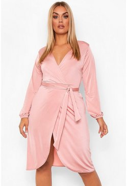 Blush pink Plus Disco Slinky Belted Wrap Midi Dress