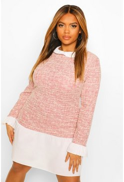 Pink Plus Boucle Contrast Collar Cuff Shift Dress