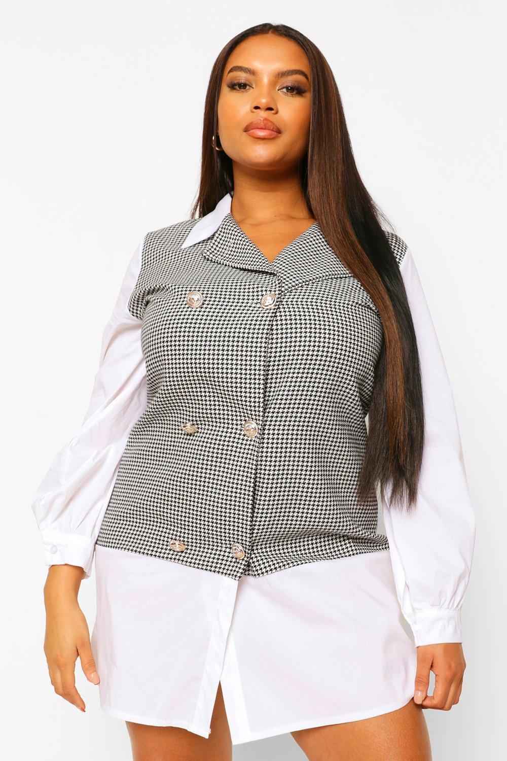 Plus Houndstooth Check Contrast Collar Shift Dress 8