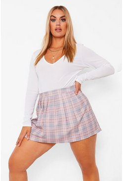 Blush pink Plus Geruite Geweven Tennis Rok