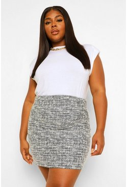Black Plus Stretch Shape Boucle Mini Skirt