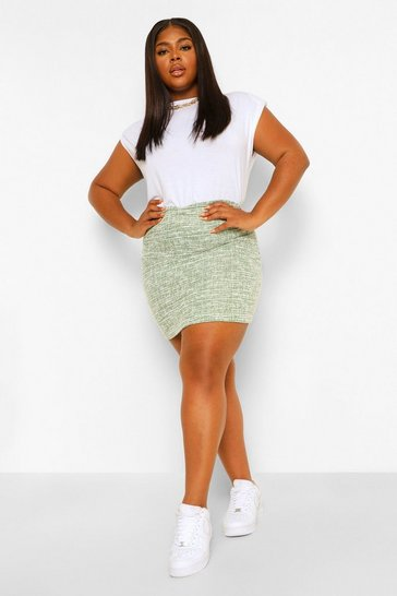 Green Plus Stretch Shape Boucle Mini Skirt