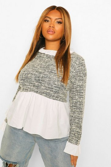 Black Plus Boucle Contrast Collar And Cuff Top