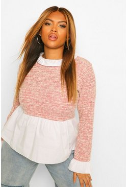 Pink Plus Boucle Contrast Collar And Cuff Top