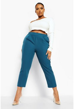 Teal green Plus Slim Leg Tailored Trousers