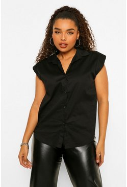 Black Plus Shoulder Pad Sleeveless Shirt