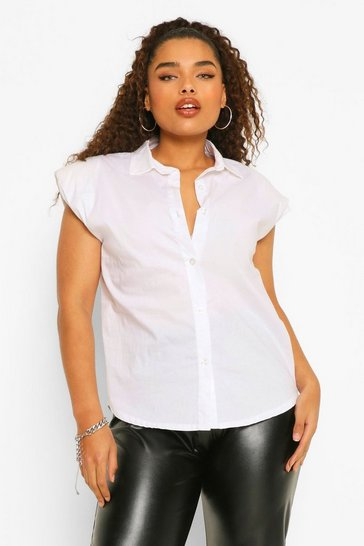 White Plus Shoulder Pad Sleeveless Shirt