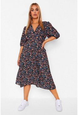 Black Plus Dark Floral Plunge Midi Dress