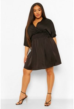 Black Plus Satin Shirred Waist Wrap Skater Dress