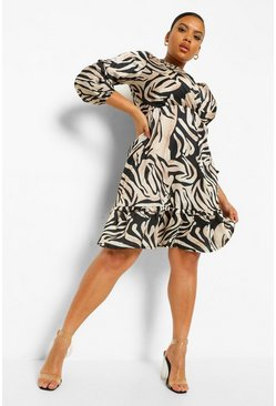 Beige Plus Marble Tiger Print Wrap Skater Dress